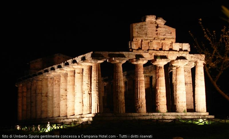 Temple of Paestum by night